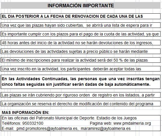 RENOVACIÓN CURSOS ACTIVIDAD FÍSICA CONTINUADA