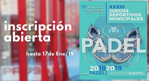 Los Juegos Municipales de Pádel abren la inscripción hasta el 17 de enero