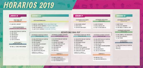 Horarios Cooltural Fest 2019