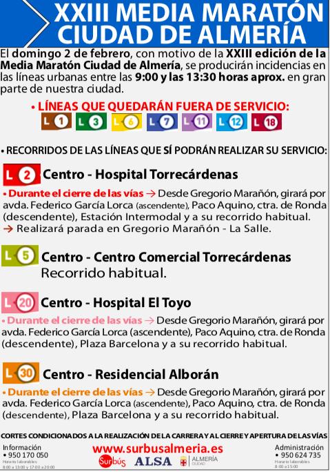 Almería desvíos tráfico maratón